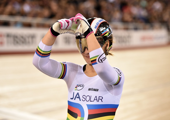 Kristina Vogel celebrates victory in the womens sprint on day two in London ©AFP/Getty Images