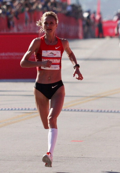 Russian marathon runner Liliya Shobukhova is alleged to have paid €450,000 to cover up abnormalities found in her biological passport ©Getty Images
