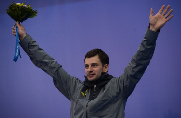 Martins Dukurs, pictured celebrating a silver medal at Sochi 2014, continued his dominant form on the World Cup circuit ©AFP/Getty Images