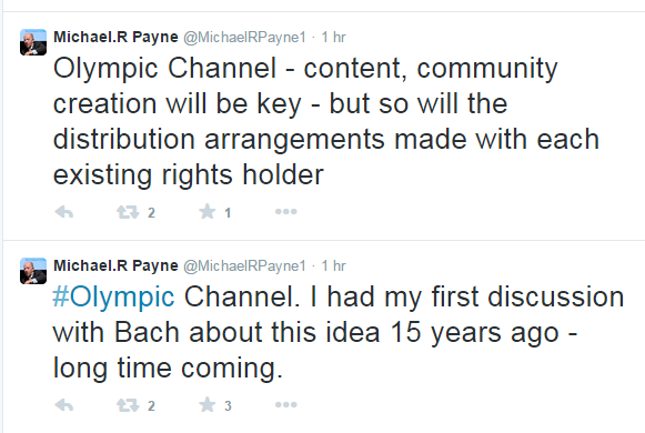 Former IOC marketing director Michael Payne claims he spoke to Thomas Bach about an Olympic TV Channel 15 years ago ©Twitter
