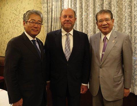 Japanese Olympic Committee President Tsunekazu Takeda (left) pictured with WKF President Antonio Espinós and JFK head Takashi Sasagawa ©WKF