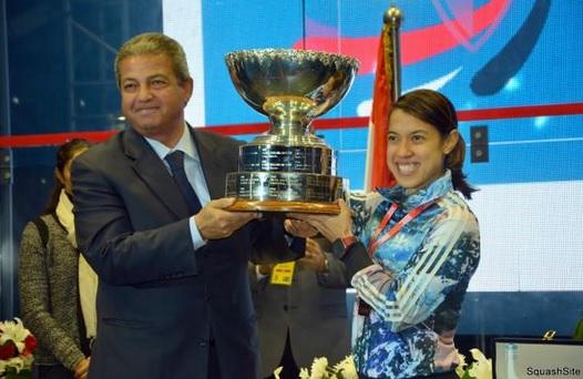 Nicol David celebrated winning an eighth squash singles title in thrilling fashion ©Squash 2020