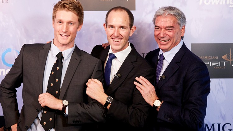 Parmigiani Award winner Franz Gravenhorst in between 2013 recipient James Cook (left) and Parmigiani chief executive Jean-Marc Jacot ©FISA