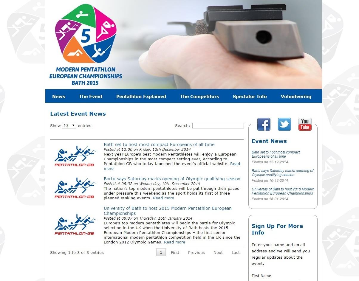 Pentathlon GB has launched the website for the 2015 European Modern Pentathlon Championships ©Pentathlon GB