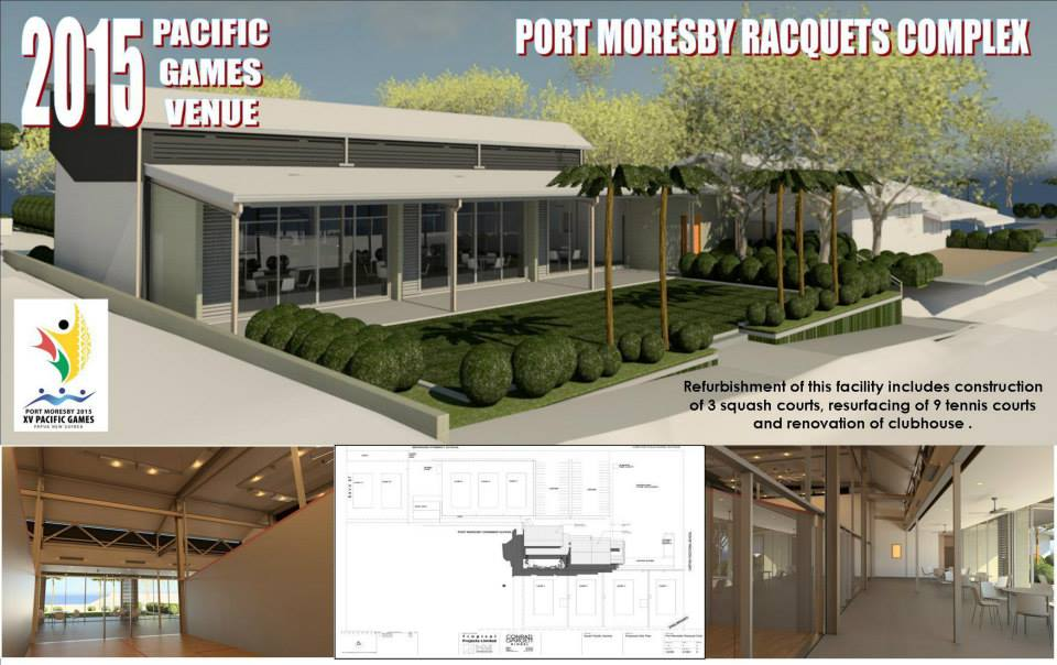 Preparing facilities, such as the tennis and squash venue shown in this impression, will be a key use of sponsorship funds ©Port Moresby 2015