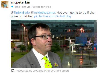 Richard Peterkin has voiced his opinions on the insidethegames.biz tie ©Twitter