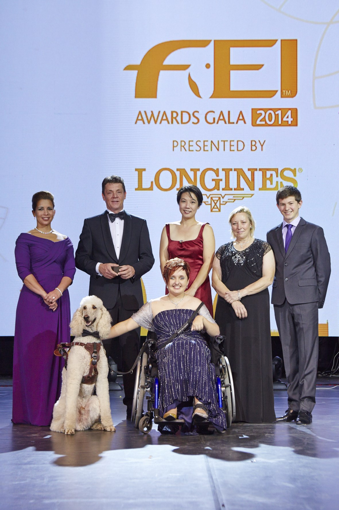 Sydney Collier and her service dog Journey were among the winners at the 2014 International Equestrian Federation Awards Gala ©FEI