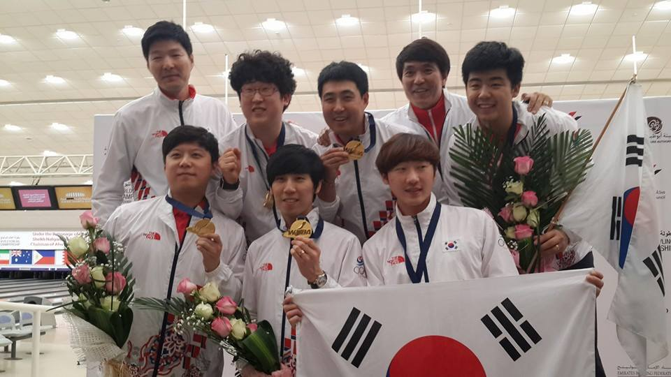 The South Korean team celebrate their gold medal winning success ©ITG