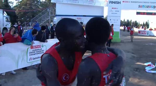 The Turkish winner and runner-up celebrate after crossing the finish line ©Twitter