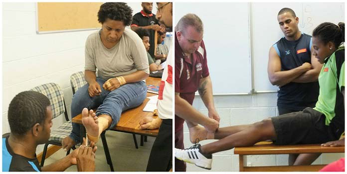 The medical students will be the first port of contact for players injured on the field of play ©PacificGames