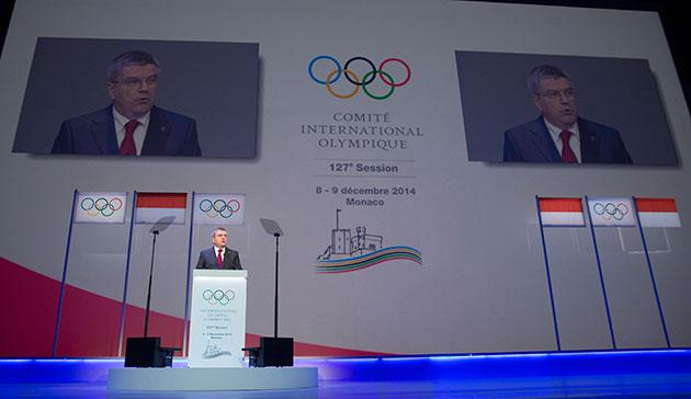 Thomas Bach speaking to open the Extraordinary IOC Session in Monte Carlo ©IOC/Ian Jones