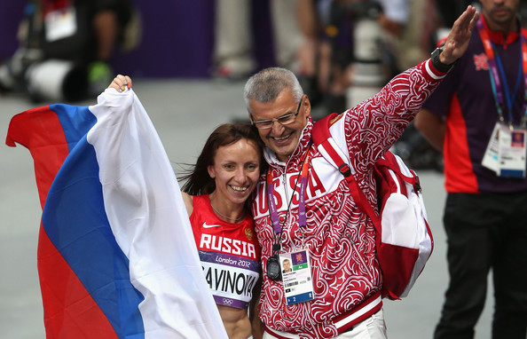 Russian coach Vladimir Kazarin, celebrating with Mariya Savinova after she won the Olympic 800 metres gold medal at London 2012, has claimed he is suing the makers of the German documentary which linked him with being involved in a systematic doping programme ©Getty Images