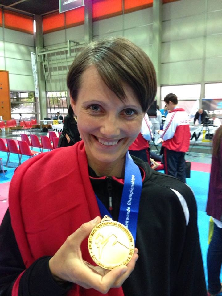 Lisa Gjessing celebrates winning a gold medal at the 2013 World Para-Taekwondo Championships in Lausanne ©Risskov Taekwondo Club