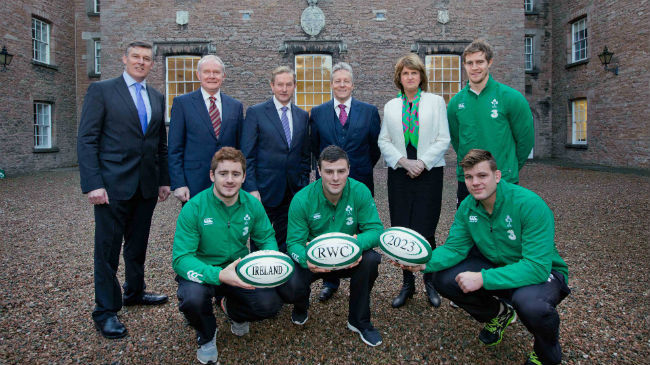 Leading Irish rugby players and officials gather at the Royal School Armagh for the announcement of the bid for the 2023 Rugby World Cup ©www.Inpho.ie
