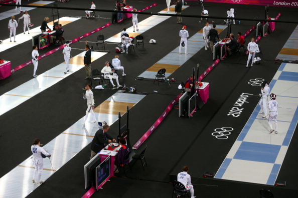 Fencing underway in the women's modern pentathlon at the London 2012 Games. As from next year, there will be a spectator-friendly fencing bonus round after the traditional round robin ©Getty Images