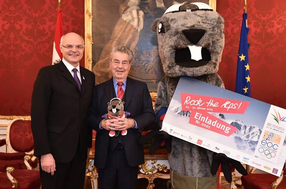 Alpy, mascot for Vorarlberg and Liechtenstein met Austrian President Heinz Fischer and Austrian Olympic Committee President Karl Stoss ©EYOF2015