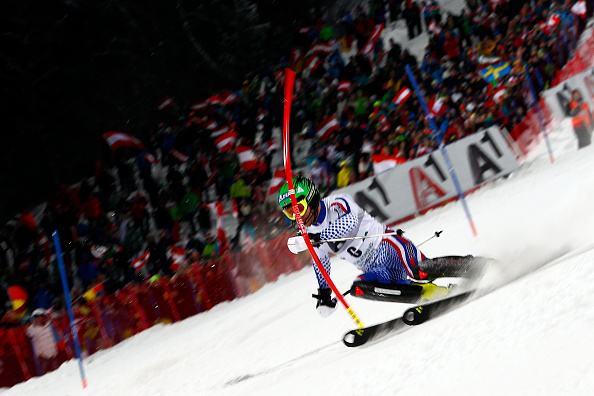 Alexander Khoroshilov made Russian skiing history in front of a packed crowd in Austria ©Getty Images