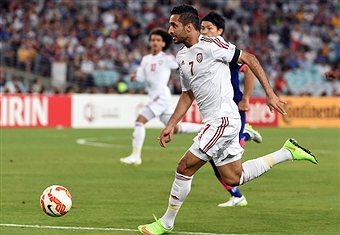 Ali Mabkhout grabbed his fourth goal of the competition with a seventh minute opener against Japan ©Getty Images