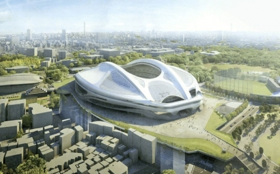 An artists impression of what the new National Stadium in Tokyo will look like An artists impression of what the new National Stadium in Tokyo will look like ©Japan Sports Council