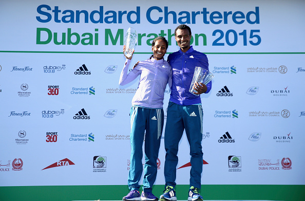 Aselefech Mergia Medessa and Lemi Berhanu secured an Ethiopian double at the Dubai Marathon ©Getty Images