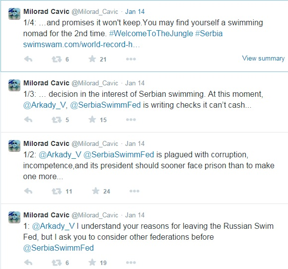 Cavic tweeted a warning to Vyatchanin claiming the Serbian Swimming Federation is plagued with corruption ©Twitter