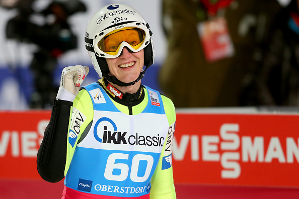 Daniela Iraschko-Stolz claimed her third successive World Cup win with victory in front of her home crowd ©Getty Images