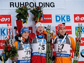 Despite Boe's (centre) victory the podium was largely dominated by Germany who took second and third