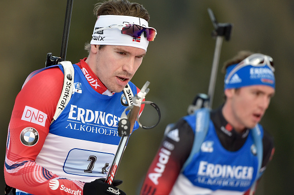Emil Hegle Svendsen passed Simon Schempp to give Norway the win in the relay ©Getty Images
