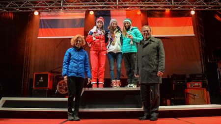 France's Lou Jeanmonnot celebrates her biathlon 7.5 kilometres pursuit gold medal at the medal ceremony in Schruns ©ÖOC/GEPA