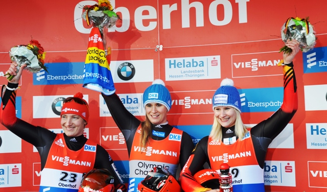 Germany secured a cleansweep on day two of the Luge World Cup in Oberhof ©FIL