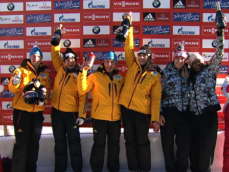 Germany's Anja Schneiderheinze (third from left) remains second in the overall World Cup standings despite her victory ©FIBT 2015