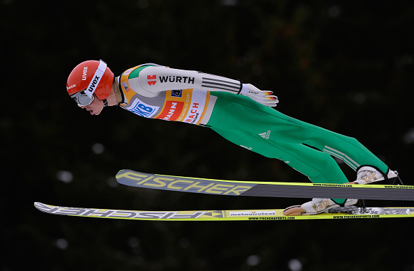 Germany's Eric Frenzel competes in the ski jumping round ©Getty Images