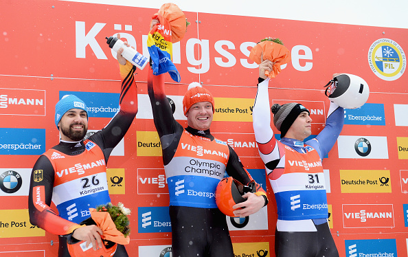 Germany's Felix Loch (centre) was joined on the podium by compatriot Andi Langenhan (left) and the United States' Chris Mazdzer (right) ©Getty Images