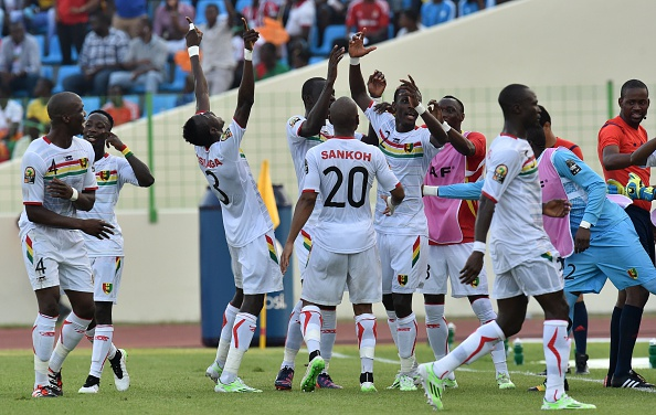 Guinea players celebrate after taking a suprise lead in their Group D match with Ivory Coast ©Getty Images