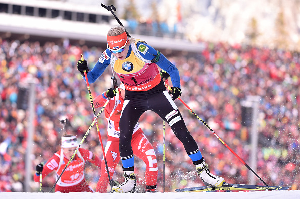 Finland's Kaisa Mäkäräinen still leads the overall World Cup standings but her advantage has been cut once again following Domracheva's win ©Getty Images