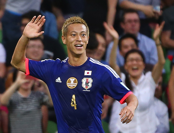 Keisuke Honda helped Japan to a 2-0 win over Jordan in the final Group D fixture ©Getty Images
