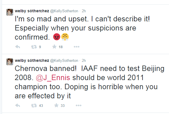Britain's Kelly Sotherton, the Athens 2004 Olympic bronze medallist, is leading calls for Russia's Tatyana Chernova to be stripped of her 2011 world title after receiving a two-year ban ©Twitter