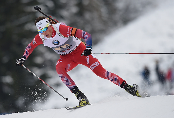 Lars Helge Birkeland missed his final standing shot as Alexey Slopov of Russia claimed victory in the men's race ©Getty Images