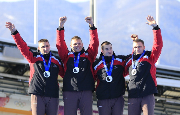 Latvia's Olympic silver-medal winning four-man bobsleigh team, led by Oskars Melbārdis (left), finished second in Altenberg, Germany ©Getty Images