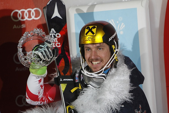 Marcel Hirscher celebrates his third consecutive win at the FIS Alpine Skiing World Cup slalom in Zagreb, Croatia ©Getty Images