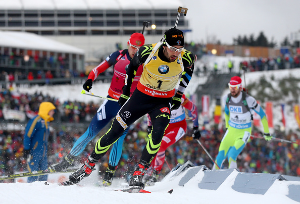 Martin Fourcade led from the front throughout the mass event on his way to a second consecutive World Cup victory ©Getty Images