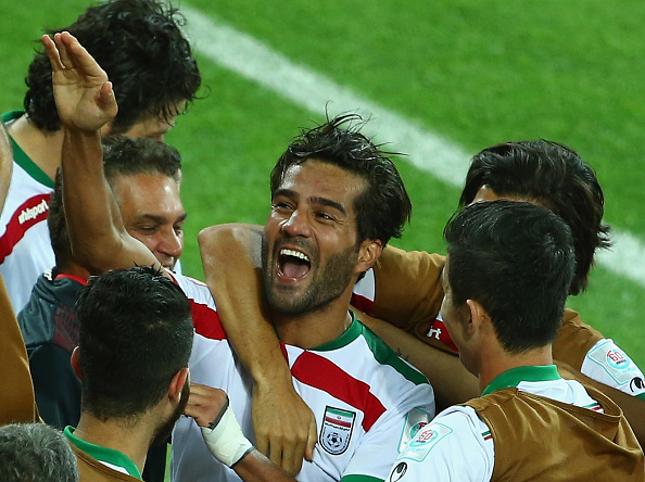 Masoud Shojaei celebrates his goal which sealed three points for Iran against Bahrain ©Getty Images