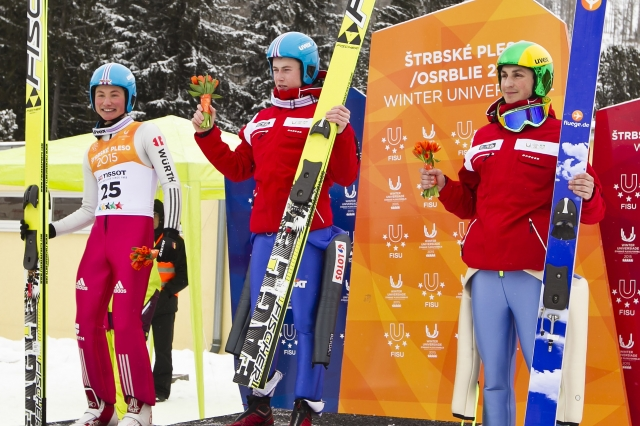 Poland's Adam Cieslar leapt to his second gold of the 2015 Winter Universiade ©Universiade