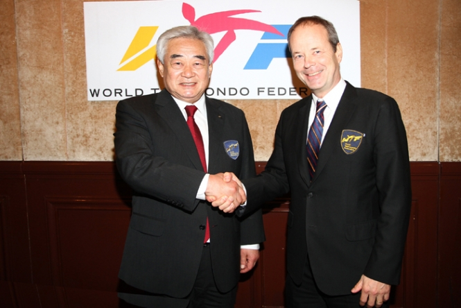 President Choue left has announced the departure of general secretary Jean-Marie Ayer, from the World Taekwondo Federation ©WTF