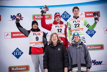 Raphael Haaser (centre, back) celebrates his triumph in the boys' Alpine skiing slalom ©EYOF 2015