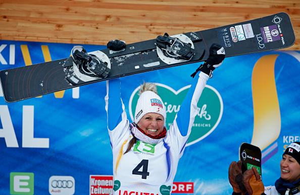 Austria's Claudia  Riegler became the oldest winner of a snowboarding world title as she won the parallel giant slalom event at Lachtal Valley ©Getty Images