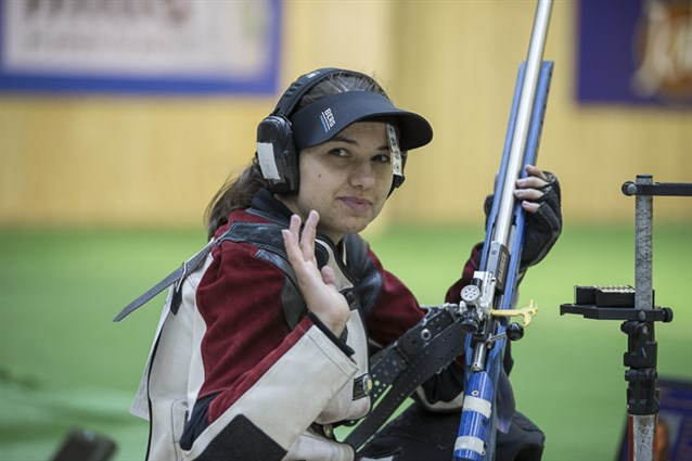 Rifle shooter Petra Zublasing received the female award ©ISSF