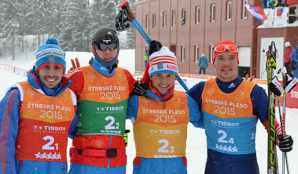 Russia celebrate yet another cross country gold medal at the Winter Universiade this time in the men's relay ©FISU