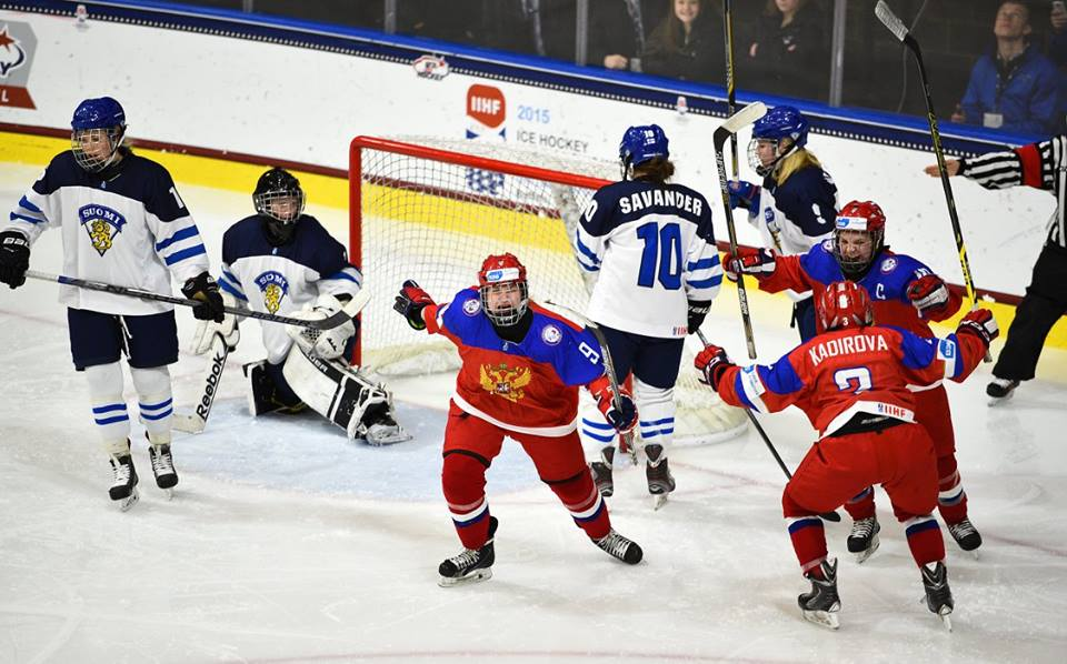 Russia stole a last gasp winner to beat Finland in the quarter-finals of the IIHF Under-18 Women's World Championships ©Matt Zambonin/HHOF-IIHF Images