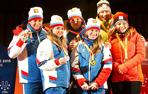 Russian teams finished first and second in the cross country mixed sprint ©FISU